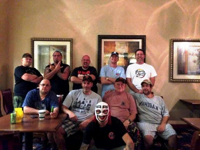 Hotel picture after 1st day of show with (top left) Nate Dawg, Fiber Joe, Ted Barrus, Brannon Dreiboldt, Bret from Puckerbutt, (middle row) me, Vic Clinco, CaJohn, and Ed Currie, (front) Brad Bishop